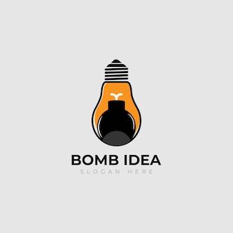 Design de logotipo de ideia reativa para lâmpada de bomba