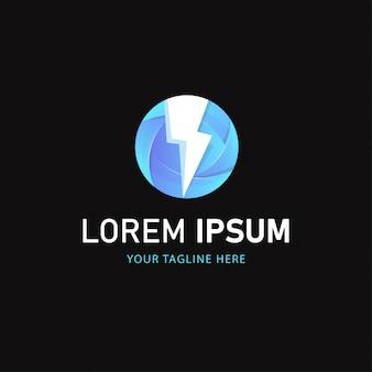 Design de logotipo de iluminação azul. logotipo abstrato estilo gradiente