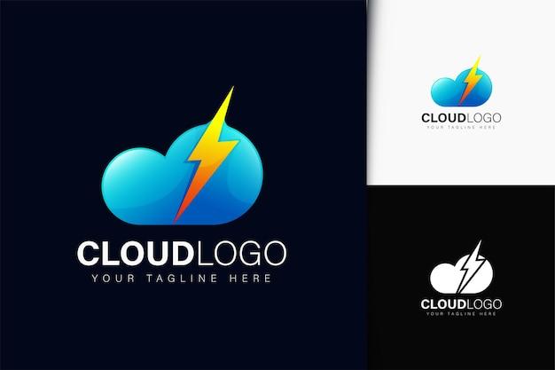 Design de logotipo de iluminação em nuvem com gradiente