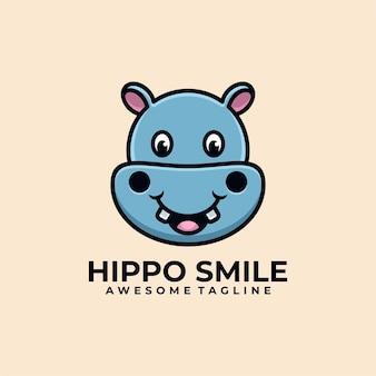 Design de logotipo de ilustração de desenho animado de hipopótamo