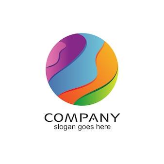Design de logotipo de ilustração de esfera colorida