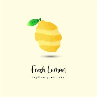 Design de logotipo de ilustração de limão fresco