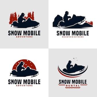 Design de logotipo de ilustração vetorial snow mobile