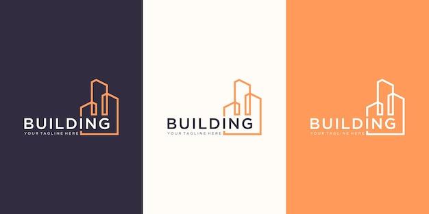 Design de logotipo de imobiliária de marca de trabalho com estilo de arte de linha