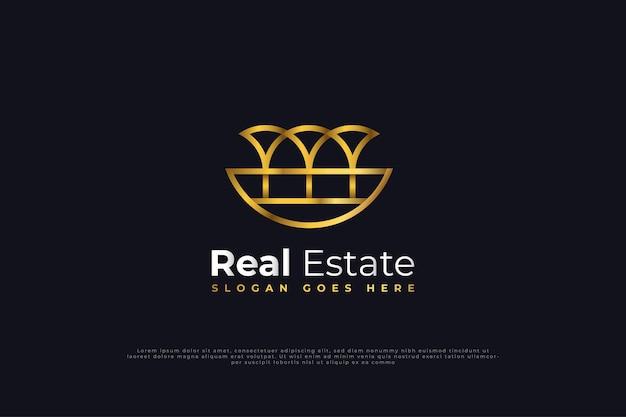 Design de logotipo de imóveis com estilo de linha em gradiente de ouro. modelo de design de logotipo de construção, arquitetura ou edifício