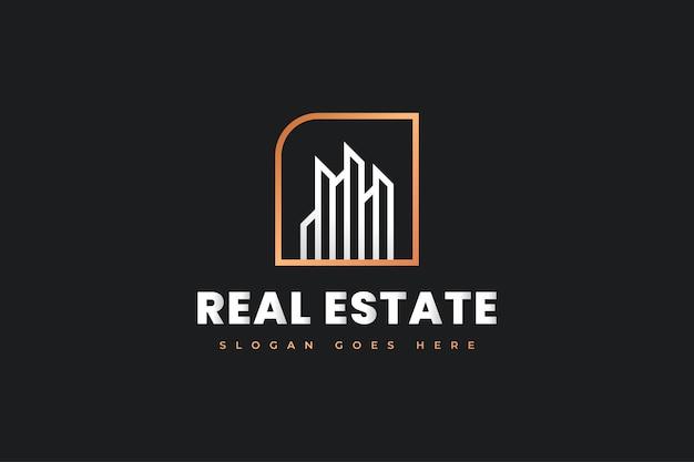 Design de logotipo de imóveis em branco e dourado com conceito minimalista. construção, arquitetura ou design de logotipo de construção