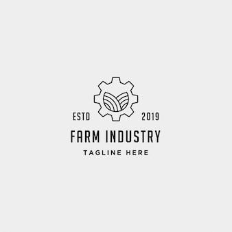 Design de logotipo de indústria de fazenda de engrenagem