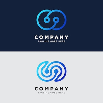 Design de logotipo de infinito de tecnologia de coleção vetor premium
