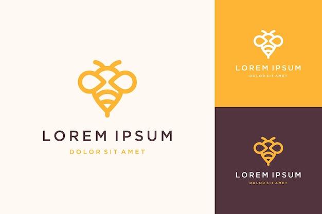 Design de logotipo de inseto ou abelha com arte de linha