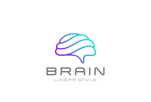 Design de logotipo de inteligência artificial do cérebro. logotipo do brainstorm de tecnologia de ia