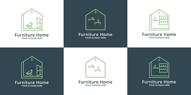 Design de logotipo de interiores de móveis para casa