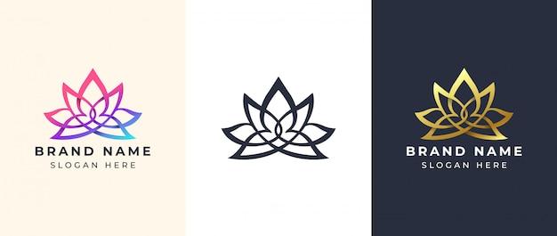 Design de logotipo de ioga de arte em linha