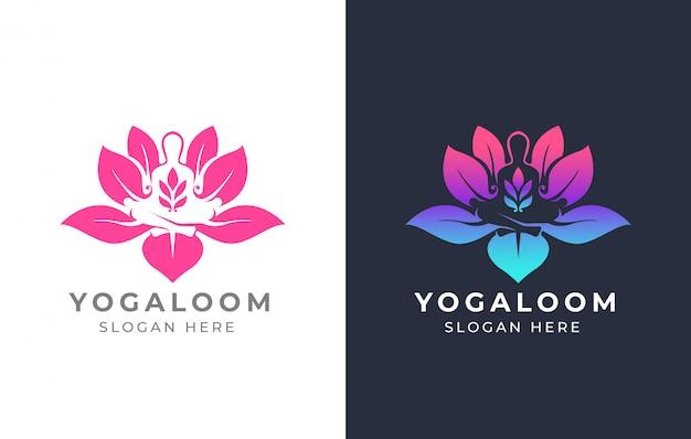 Design de logotipo de ioga de lótus