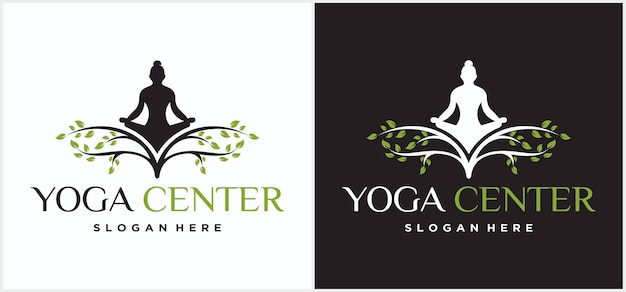 Design de logotipo de ioga. meditação humana em uma ilustração do vetor de árvore. modelo de design de logotipo de ioga. ícone de cosméticos e logotipo do spa. pose de ioga vector logotipo de meditação de ioga natural