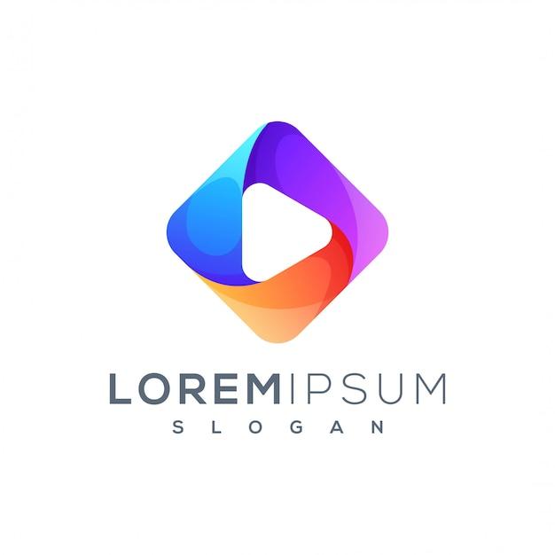 Design de logotipo de jogo colorido pronto para uso