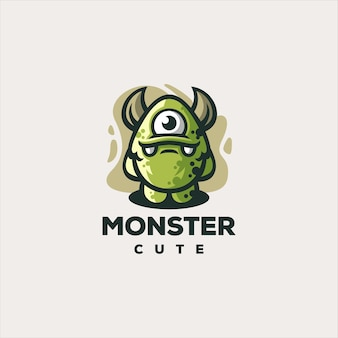 Design de logotipo de jogo fofo monstro