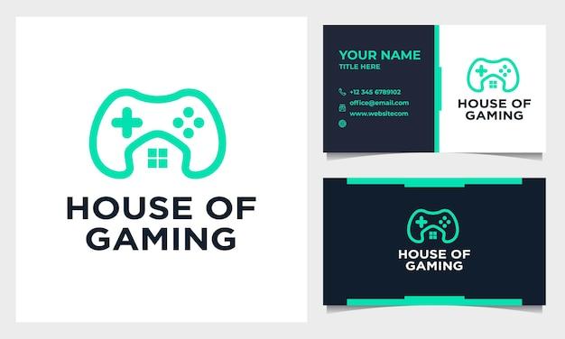 Design de logotipo de jogo line art com ícone de casa ou casa e modelo de cartão de visita Vetor Premium