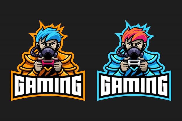 Design de logotipo de jogos de máscara de gás de menino