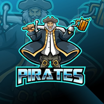 Design de logotipo de jogos de mascote de piratas