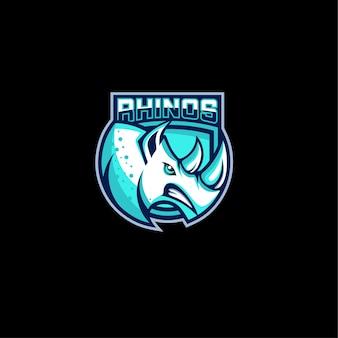 Design de logotipo de jogos de rinoceronte com raiva