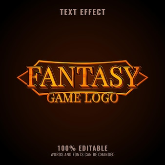 Design de logotipo de jogos de rpg de efeito de texto fantasia