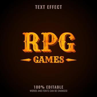 Design de logotipo de jogos de rpg dourado de efeito de texto fantasia