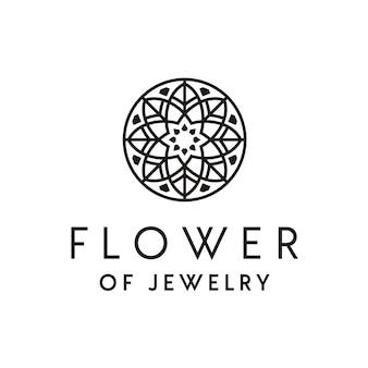 Design de logotipo de joias de luxo artística com enfeite de flor