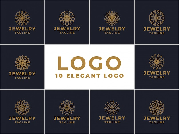 Design de logotipo de joias, emblema para produtos de luxo, hotéis, butiques, joias, cosméticos orientais, restaurantes, lojas