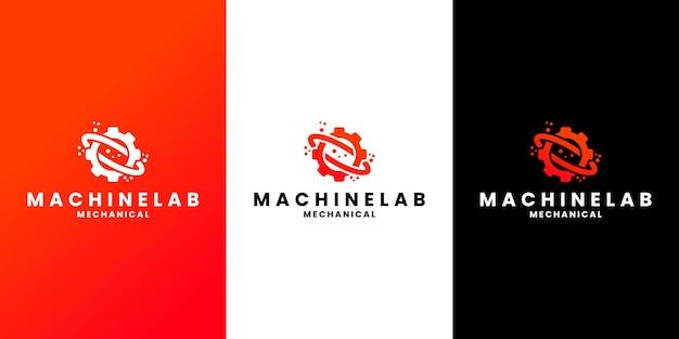 Design de logotipo de laboratório de máquina para oficina, mecânico, laboratório