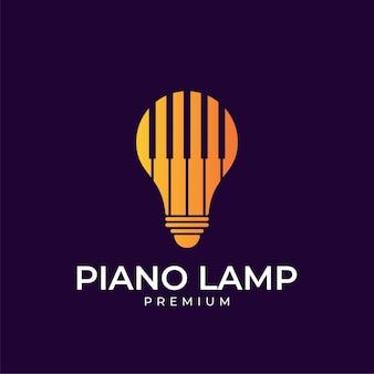 Design de logotipo de lâmpada de piano