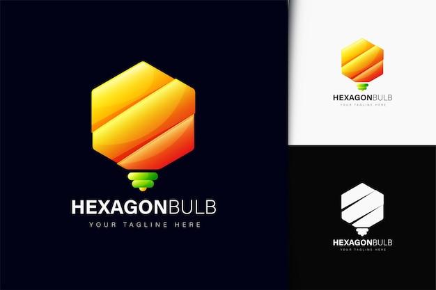 Design de logotipo de lâmpada hexagonal com gradiente