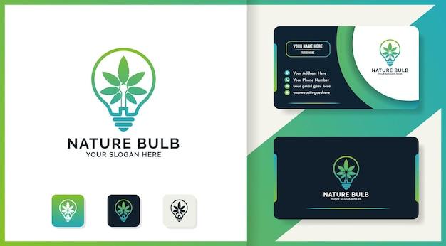 Design de logotipo de lâmpada natural e cartão de visita