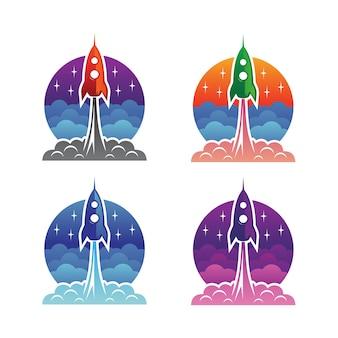 Design de logotipo de lançamento de foguete