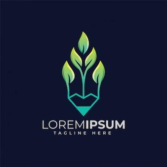 Design de logotipo de lápis de folha