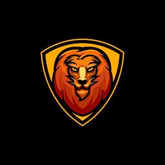 Design de logotipo de leão com escudo para a equipe esport