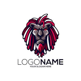 Design de logotipo de leão dreadlocks