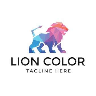 Design de logotipo de leão poligonal