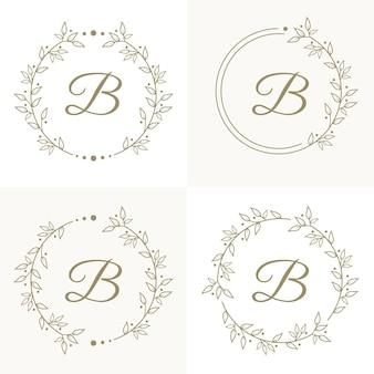Design de logotipo de letra b de luxo com modelo de fundo de quadro floral