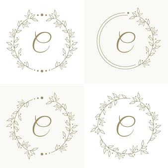 Design de logotipo de letra c de luxo com modelo de fundo de moldura floral