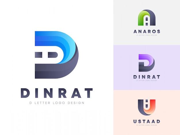 Design de logotipo de letra d colorido de 3 estilos