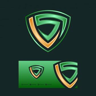 Design de logotipo de letra e escudo ls.