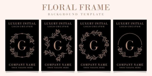 Design de logotipo de letra g de luxo com modelo de fundo de moldura floral