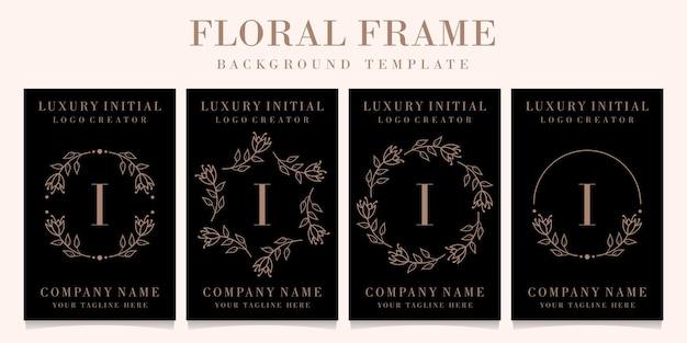 Design de logotipo de letra i de luxo com modelo de fundo de moldura floral