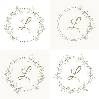 Design de logotipo de letra l de luxo com modelo de fundo de quadro floral
