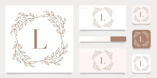 Design de logotipo de letra l de luxo com modelo de moldura floral, design de cartão de visita