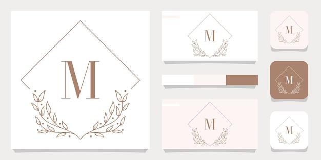 Design de logotipo de letra m de luxo com modelo de moldura floral, design de cartão de visita