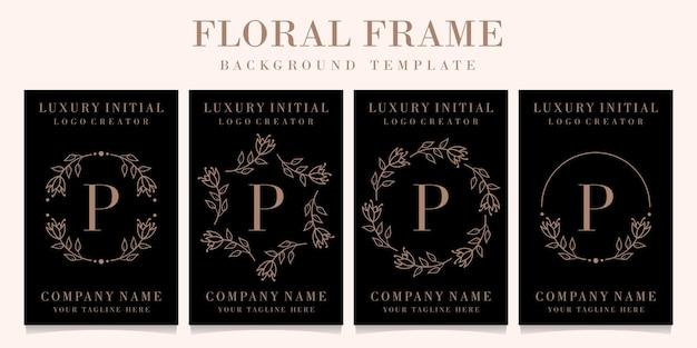 Design de logotipo de letra p de luxo com modelo de fundo de quadro floral
