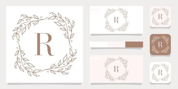 Design de logotipo de letra r de luxo com modelo de moldura floral, design de cartão de visita