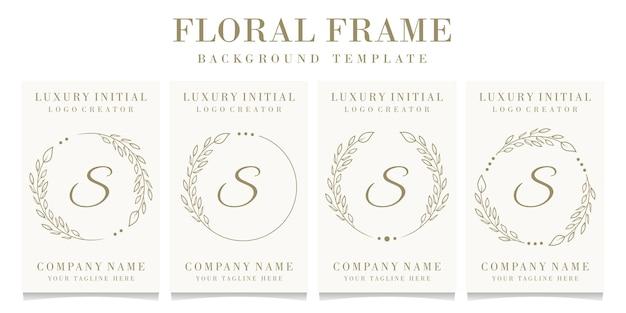 Design de logotipo de letra s de luxo com modelo de fundo de moldura floral