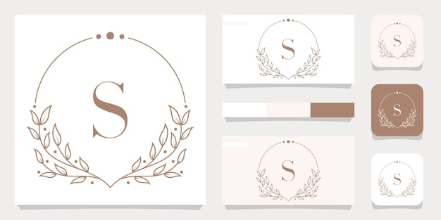 Design de logotipo de letra s de luxo com modelo de moldura floral, design de cartão de visita